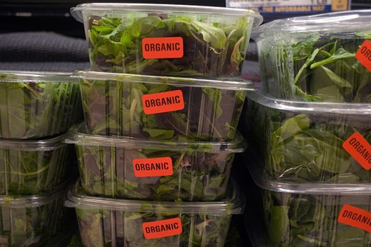 Mixed greens in a grocery store. : Stock Photo