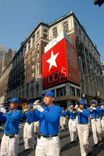 Falun Dafa marching band in the Korean Parade in NYC. : Stock Photo
