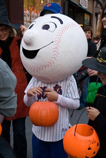 Mr. Met in Park Slope Brooklyn Halloween Parade : Stock Photo