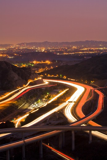 The interchange of the 5 and 14 freeways, Santa Clarita, California, United States of America : Stock Photo