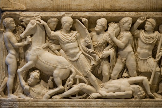 Sarcophagus with scenes depicting Achilles, The Getty Villa (J. Paul Getty Museum), Malibu, California, United States of America : Stock Photo