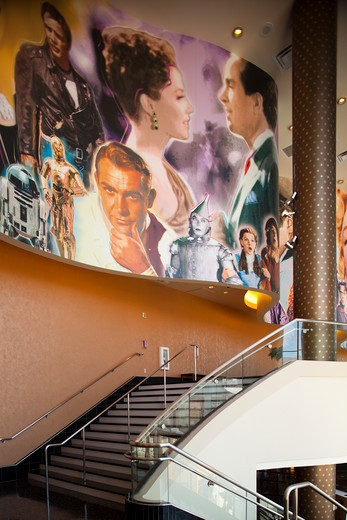 Mural of famous actors and actresses, AMC Theaters, Century City, Los Angeles, California, United States of America : Stock Photo