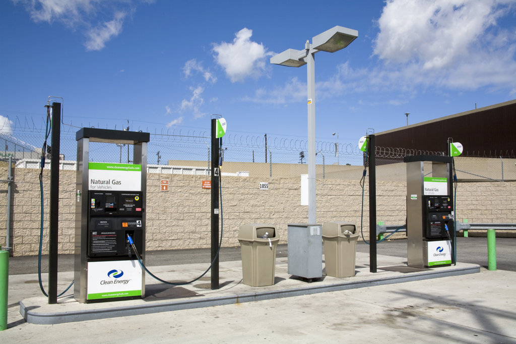 Natural Gas Fueling Station, Los Angeles, California, USA : Stock Photo