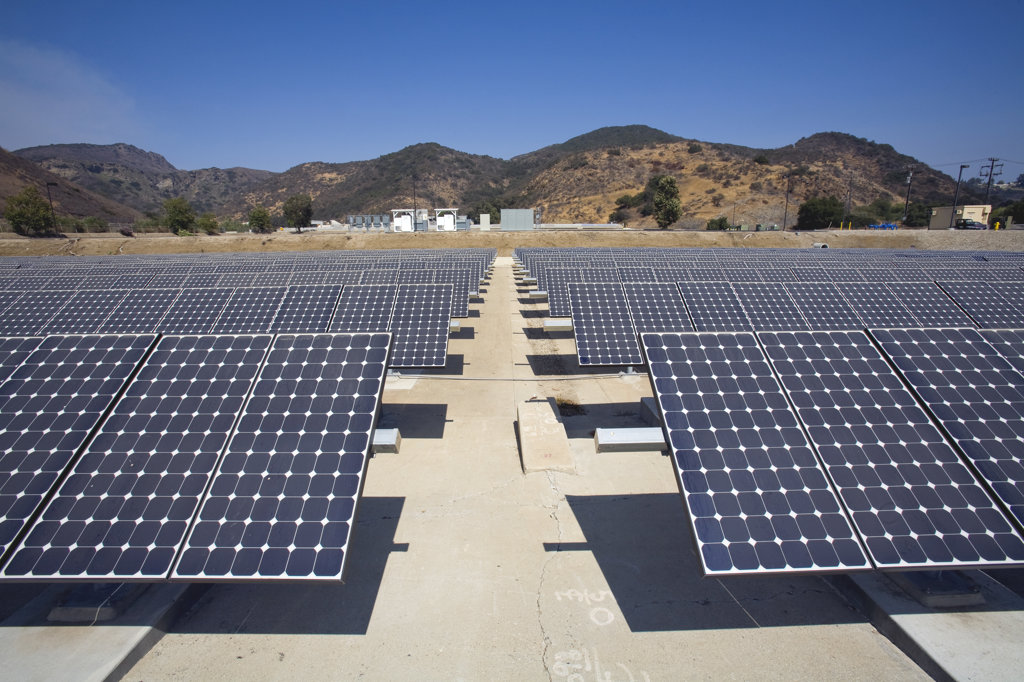 Stock Photo: 4055-5377 2783 panel Solar Array at the Hill Canyon Wastewater Treatment Plant. The Array provides about 15% of the facility's energy needs. Installation by Martifer Solar USA. Camarillo, Ventura County, California, USA