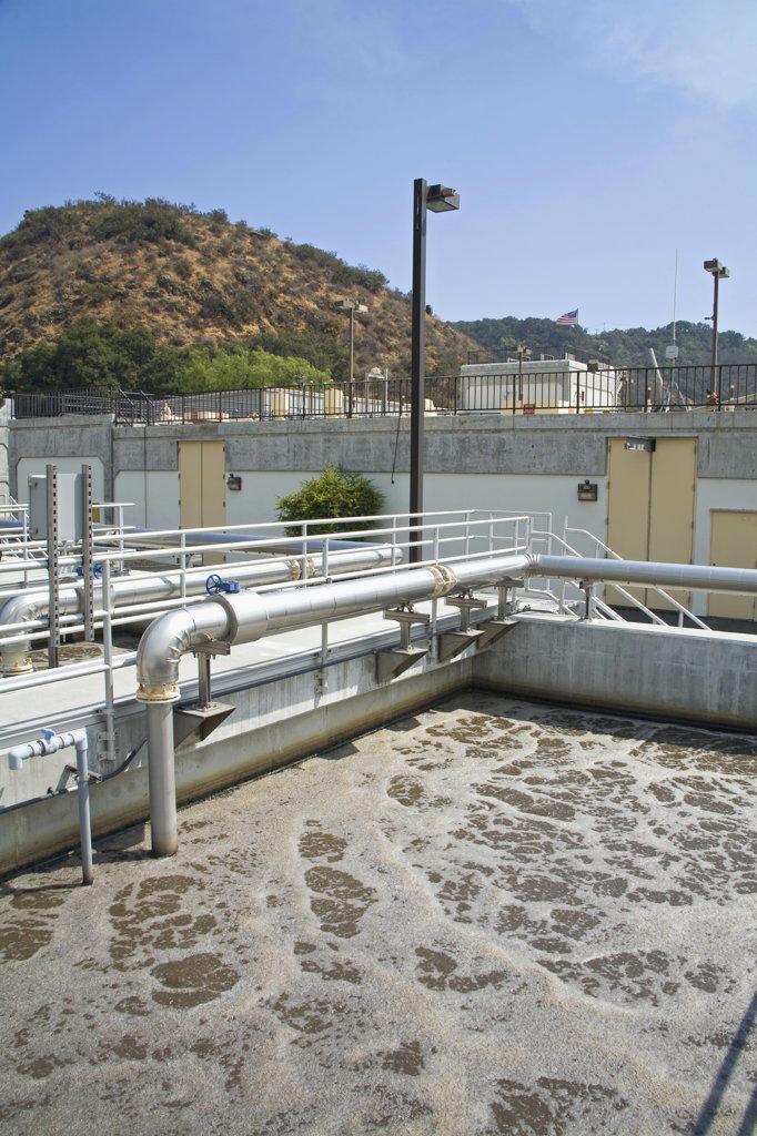 Bio-reactor Basin, Hill Canyon Wastewater Treatment Plant, Camarillo, Ventura County, California, USA : Stock Photo