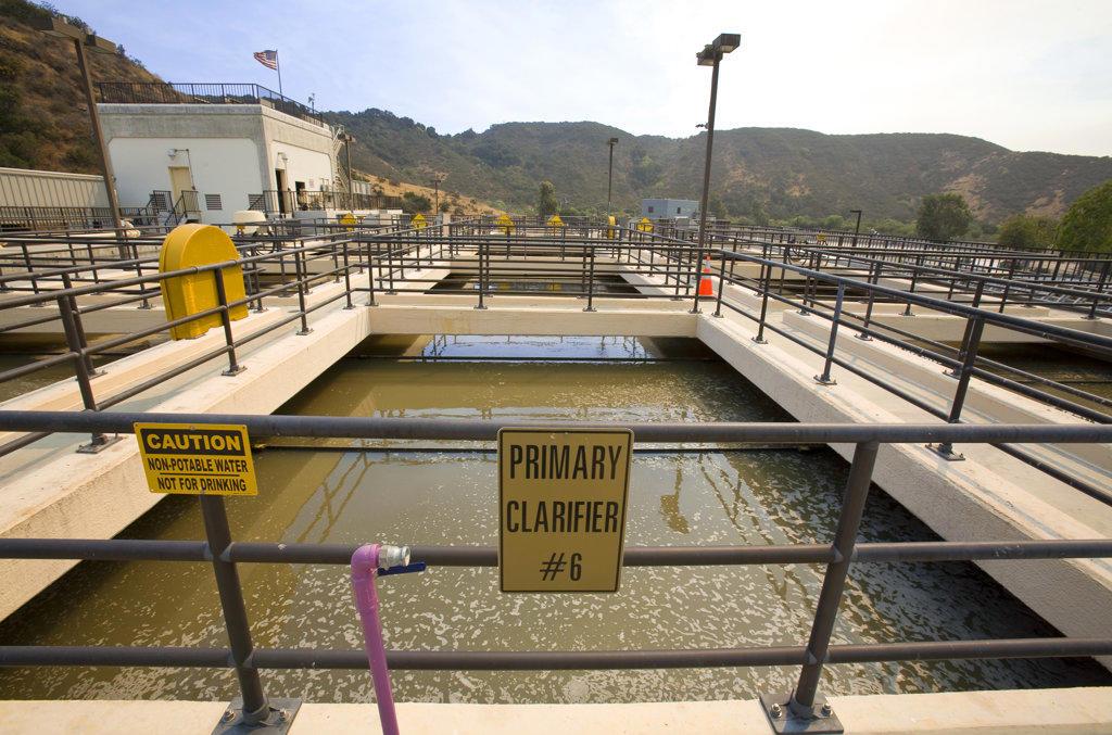 Stock Photo: 4055-5390 Primary Clarifier, Hill Canyon Wastewater Treatment Plant, Camarillo, Ventura County, California, USA