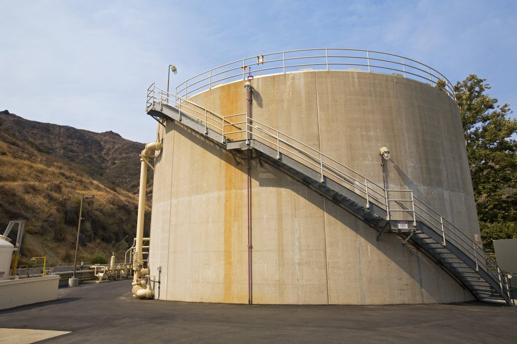 Stock Photo: 4055-5407 Digester Tanks, Hill Canyon Wastewater Treatment Plant, Camarillo, Ventura County, California, USA