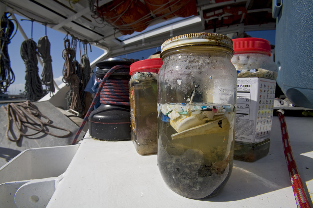 "Stock Photo: 4055-5496 Plastic sample jars. The ORV Alguita returns to Long beach after four months at sea sampling the waters of the ""great Pacific garbage patch"""" in the North Pacific Subtropical  Gyre (NPSG)."