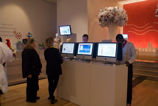 The online marketer, eBay, opens a pop-up store in New York on Friday, November 20, 2009 with previews of select items and internet kiosks for those consumers who wander in and are inspired to do online shopping. The store called eBay @ 57th will remain open until December 29. In a touch of accidental irony the store is in the space which was originally occupied by Phillips Auctioneers which moved in 2003. (© Richard B. Levine) : Stock Photo