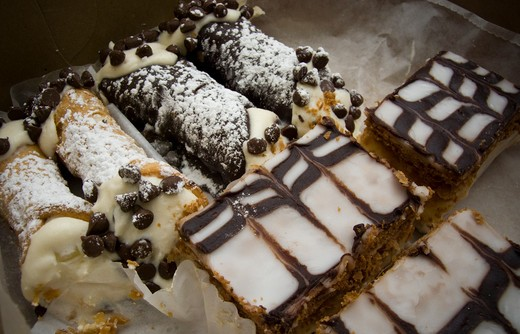 A box of canolis and napolean Italian pastries is seen on Wednesday, December 2, 2009. (© Richard B. Levine) : Stock Photo