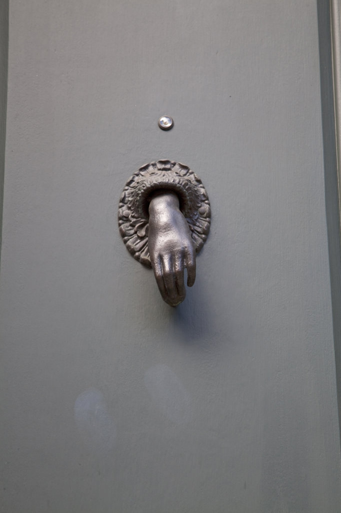 Stock Photo: 4055-7366 Door and doorknocker on West Village Brownstone, Greenwich street, Greenwich Village, New York, USA