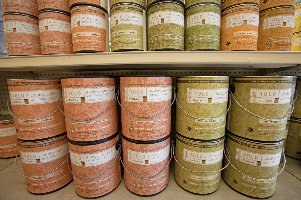 Environmentally friendly paints such as Yolo and Benjamin Moore's Natura contain no VOC's (Volatile Organic Compounds) on shelf at Cox Paints in Culver City, California, USA : Stock Photo