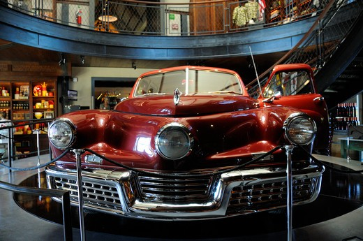 "The Tucker auto used in Francis Ford Coppola's film """"Tucker, a Man and His Dream"""" on display with other movie memorabilia at Coppola Winery. Geyserville, Sonoma Co., CA : Stock Photo"