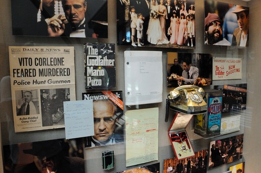 Props and photos from the Godfather movies on display at Francis Ford Coppola Winery. Geyserville, Sonoma County, California : Stock Photo