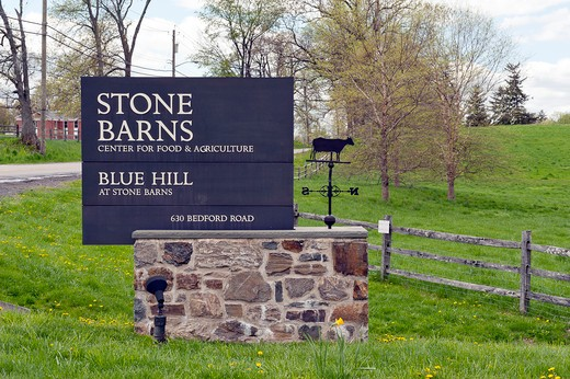 Signs at Stone Barns Center For food and Agriculture, a working four-season farm and educational center 30 miles north of New York City with a mission to create a consciousness about the effect of everyday food choices. : Stock Photo