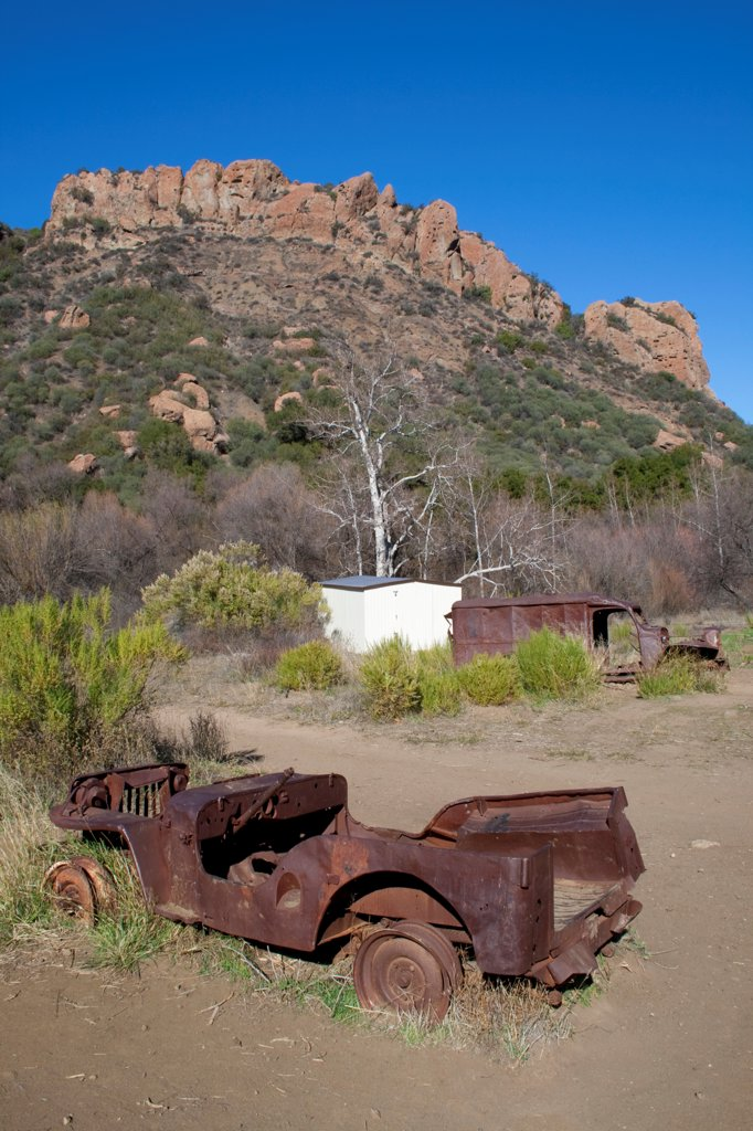 Stock Photo: 4055R-8302 Old Mash (television Series) location set, Malibu Creek State Park, Santa Monica Mountains, California, USA