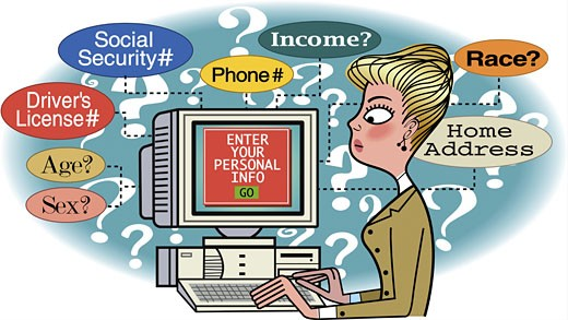Businesswoman feeding personal information on computer : Stock Photo