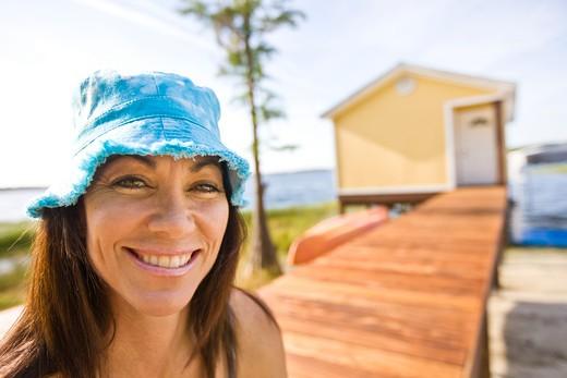 Stock Photo: 4061-128 Portrait of a mature woman smiling, Orlando, Florida, USA