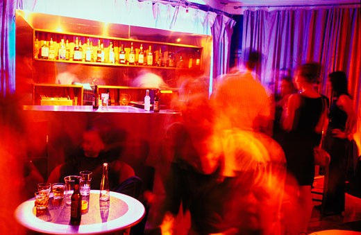 Stock Photo: 4062-1082 People talking and drinking in a bar; 2000's