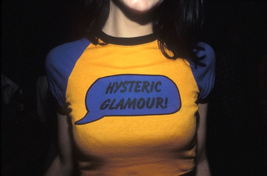 Stock Photo: 4062-1234 Girl in Hysteric Glamour! t-shirt at Megatripolis London UK 1990's