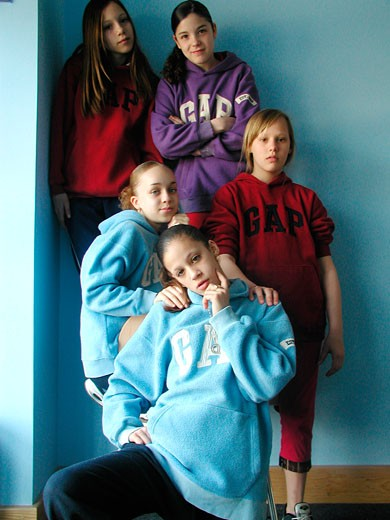 Stock Photo: 4062-1371 Group of girls wearing Gap jumpers