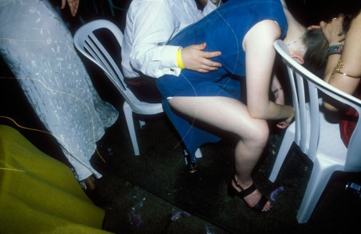 Stock Photo: 4062-1554 An ill girl is comforted by her friends at Glamorgan University Ball in Treforest; Wales; UK; 1998