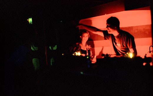 Stock Photo: 4062-1716 Sol Ray; Trance DJ on the decks in club; UK; 2000's