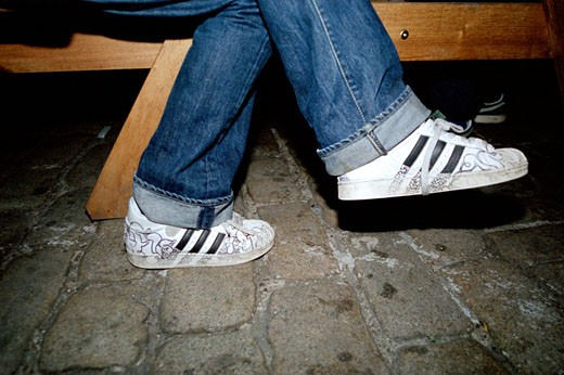 Customised Adidas Shelltoes; Trainers at 93 Feet East; London; 2004 : Stock Photo