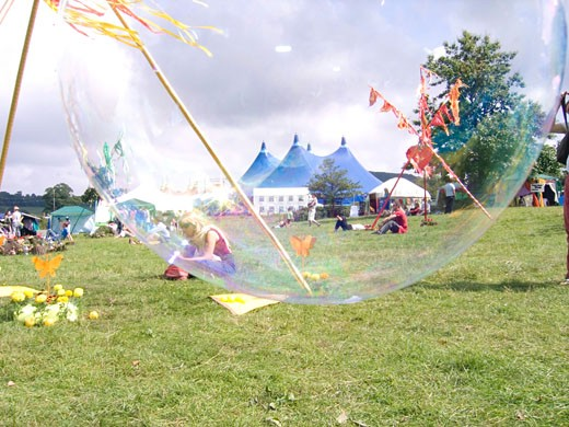 A giant bubble; The Big Chill Festival; UK 2004 : Stock Photo