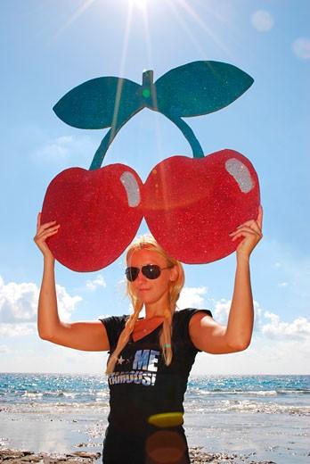 F**k Me I'm Famous, Pacha club parade girl, Sa Trincha, Las Salinas beach, Ibiza, 2006 : Stock Photo