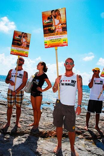 F**k Me I'm Famous, Pacha club parade, Sa Trincha, Las Salinas beach, Ibiza, 2006 : Stock Photo