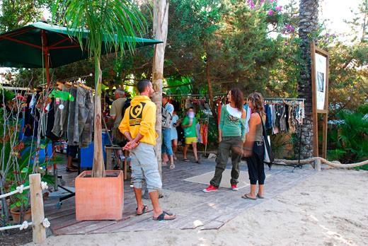 Stock Photo: 4062-2740 A clothes stall on the pathway to The Jockey Club, Las Salinas beach, Ibiza 2006