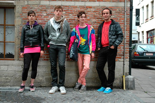 Four young people in New Rave / Indie Styles, Antwerp, Belgium 2006 : Stock Photo
