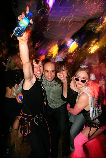 Stock Photo: 4062-3591 Four dressed up people posing to the camera, closing party at Turnmills, The Last Dance, London, UK, 23.3.08