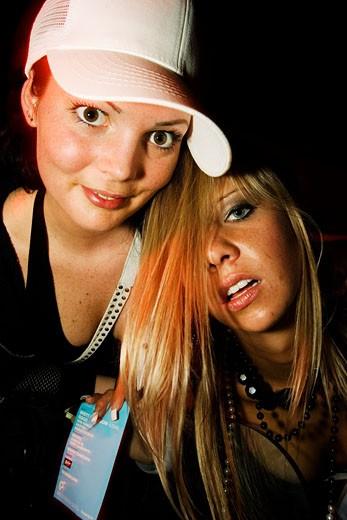 Two sexy girls, posing, Club Que, Zurich, Switzerland, 2006 : Stock Photo