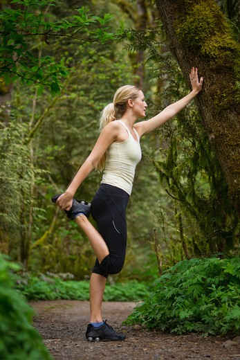 Portland, Oregon, USA, Woman stretching before run, on trail in forest : Stock Photo