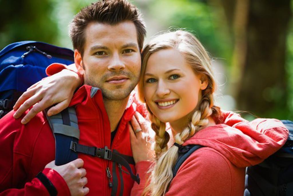 Stock Photo: 4064R-424 Portland, Oregon, USA, Man and woman hiking, portrait