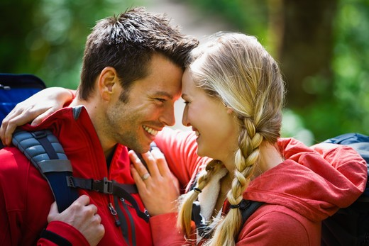 Portland, Oregon, USA, Man and woman hiking, portrait : Stock Photo