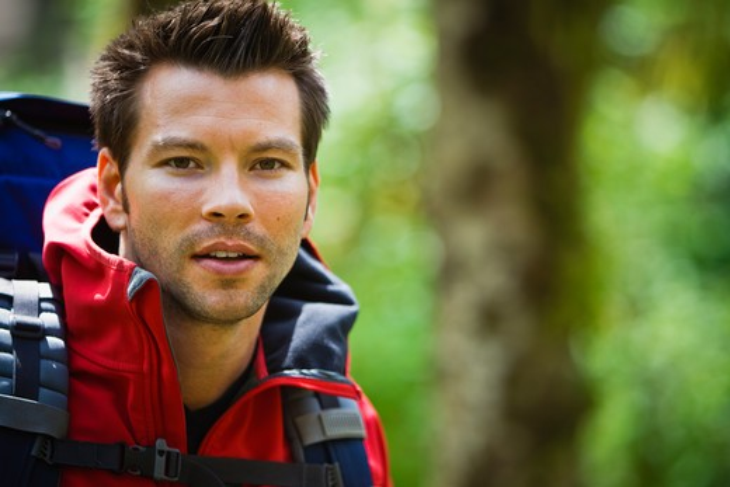 Stock Photo: 4064R-430 Portland, Oregon, USA, Man hiking, portrait