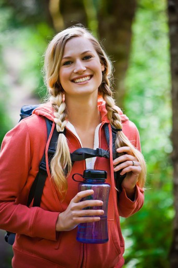 Stock Photo: 4064R-439 Portland, Oregon, USA, Woman hiker, portrait