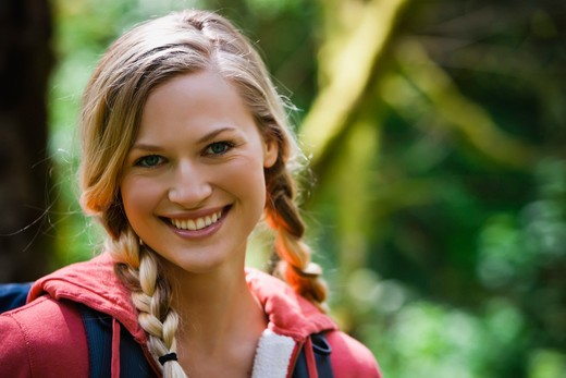 Stock Photo: 4064R-443 Portland, Oregon, USA, Woman hiker, portrait