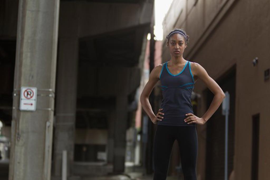 Portrait of woman in workout wear : Stock Photo