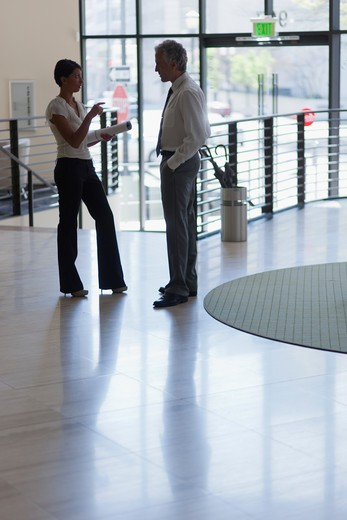 Businessman and businesswoman discussing in lobby of office : Stock Photo