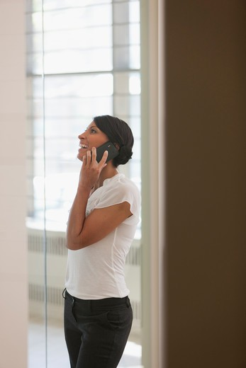 Woman on phone in office : Stock Photo