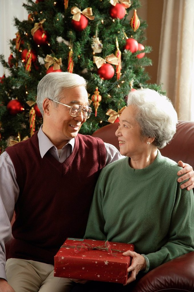 Elderly couple at Christmas time smiling at each other : Stock Photo