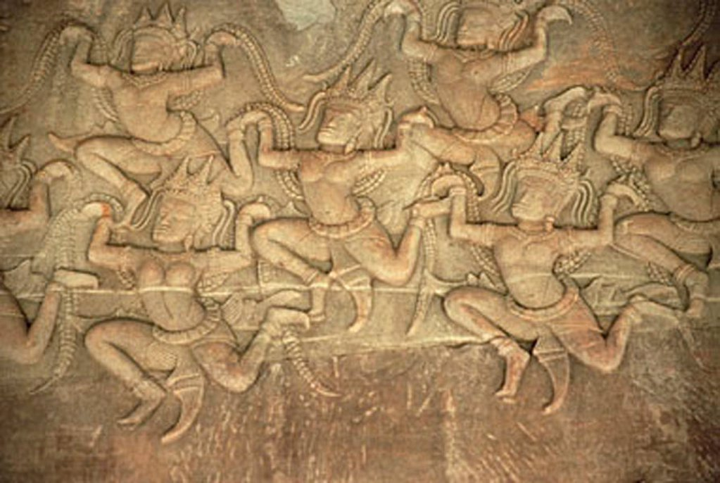 Stock Photo: 4065-11824 Cambodia, Siem Reap, Stone carving of dancing women in the Temples of Angkor