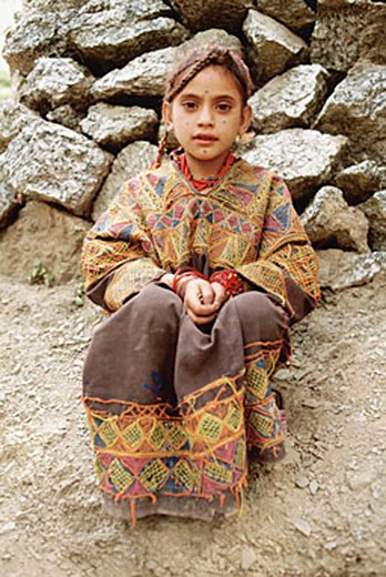 Pakistan, Chitral, Portrait of young Kailash girl. : Stock Photo