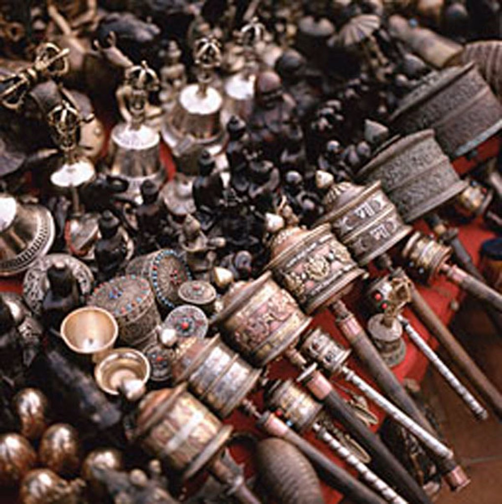 Nepal, Kathmandu, prayer wheels for sale at the market : Stock Photo