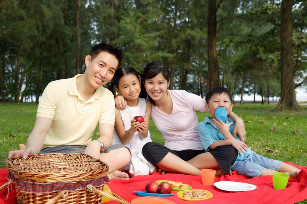 Stock Photo: 4065-12636 Family of four, having a picnic, smiling at camera