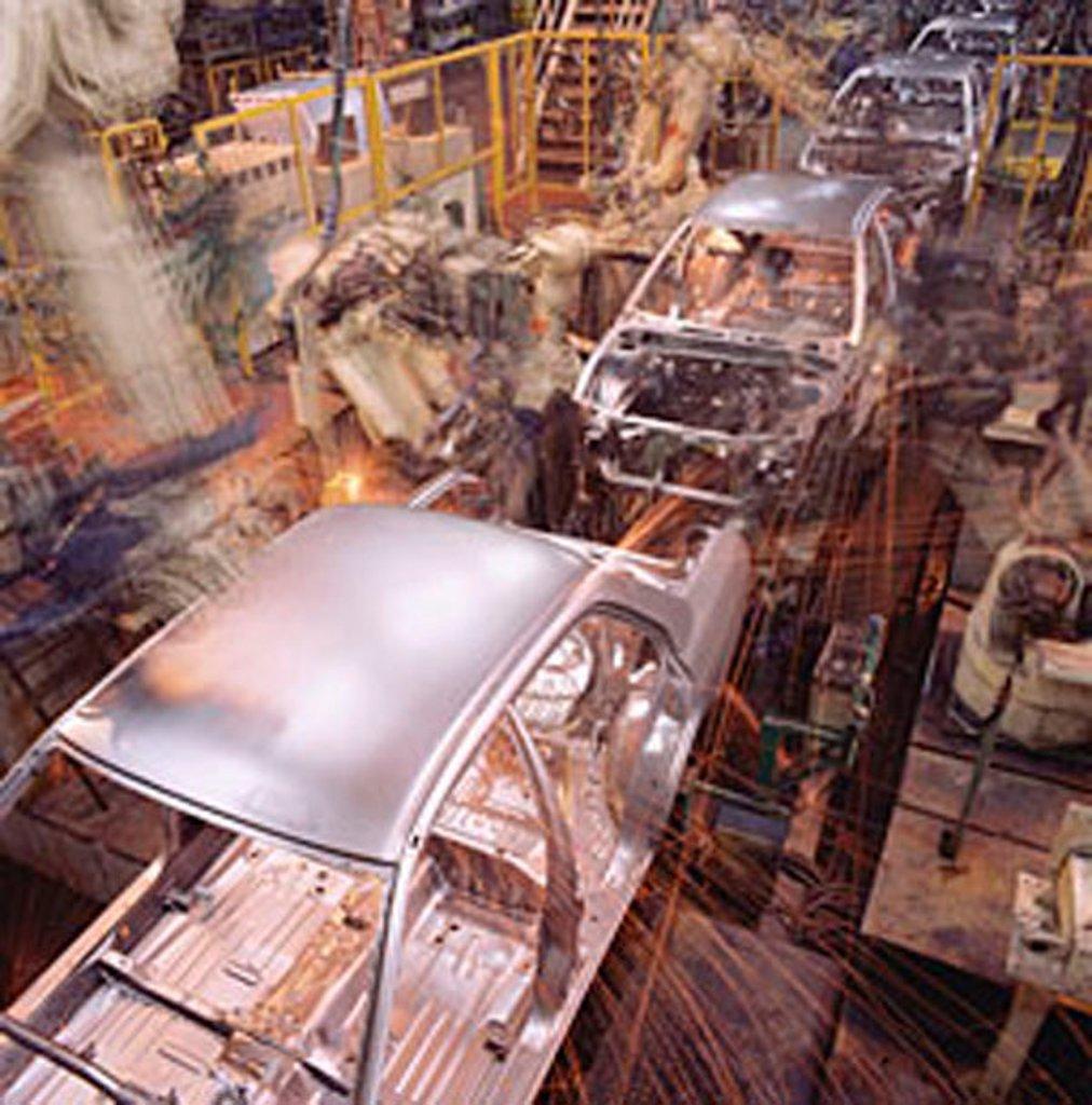 Stock Photo: 4065-13792 Malaysia, Kuala Lumpur, Proton auto factory, Proton cars on automated assembly line.